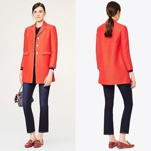Tory Burch Cotton/Silk Textured Castleton Peacoat
